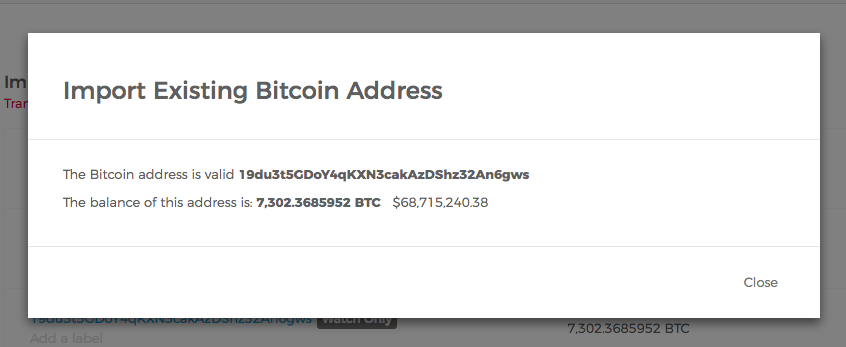 Screenshot depicting the end of the import process for a watch-only bitcoin address